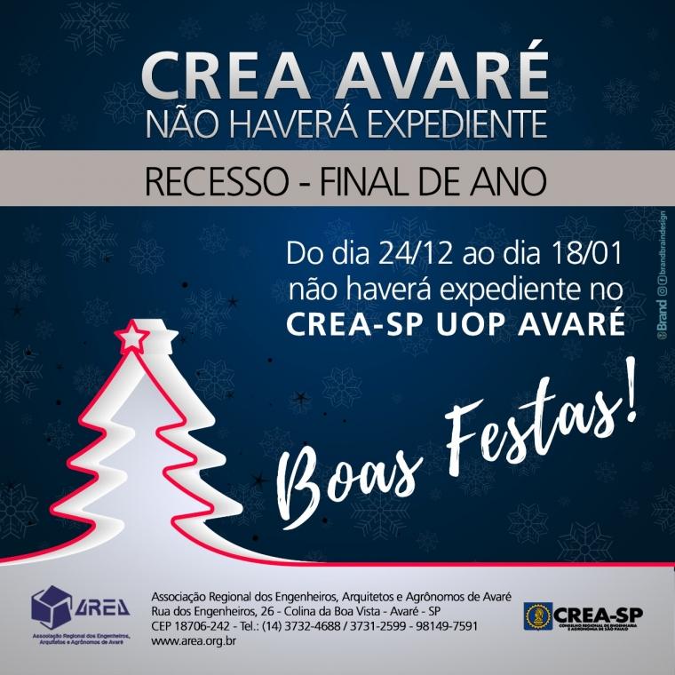 CREA AVARÉ - NÃO HAVERÁ EXPEDIENTE