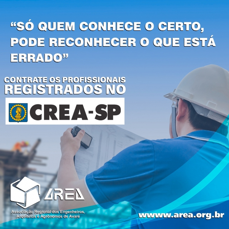 Contrate os profissionais REGISTRAOS no CREA-SP